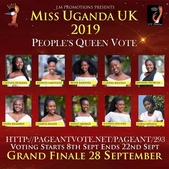 Vote for Nisha Kilembwe Miss Uganda UK 2019.